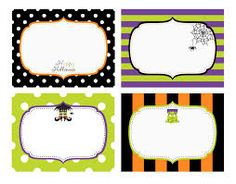 Free printable Halloween name tags with bats, a witch hat ...