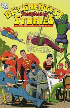 """Not a dream! Not a hoax! Definitely a flood of imaginary tales! Guaranteed non-canon or double your insanity back: Lois marries Superman; Lex kills Superman; Jimmy marries Supergirl; Superman splits into two; Superman has three wives; Superman has twin sons; Superman and Batman are brothers! Edited by Robert Greenberger (""""Starlog""""). Cover by Brian Bolland (""""2000 A.D."""")."""