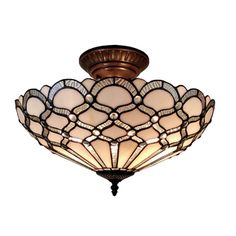 Amora Lighting Tiffany Style Jewel Semi Flush Mount | Overstock.com Shopping - The Best Deals on Tiffany Style Lighting