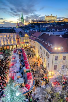 Christmas in Bratislava, Slovakia.very quaint and love the little shops and Christmas market! The Places Youll Go, Places To See, Beautiful World, Beautiful Places, Les Illuminations, Christmas In Europe, Christmas Markets, Christmas Time, Bratislava Slovakia