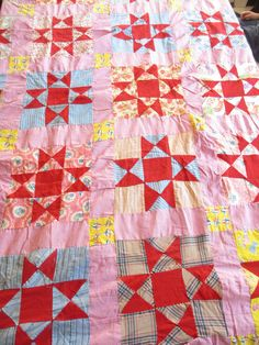 Vintage Feedsack Quilt Topper by MemphisNanney on Etsy, $52.00