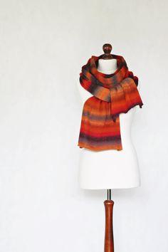 Wool shawl knit scarf knit shawl orange scarf by KnitwearFactory, $85.00