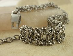 Items similar to Stainless Steel Chainmaille Bracelet Kit or Ready Made Bracelet - Intermediate - Celtic Labyrinth on Etsy Wire Jewelry, Jewelery, Handmade Jewelry, Viking Knit, Chainmaille Bracelet, Tourmaline Gemstone, Artisanal, Bracelets For Men, Bracelets