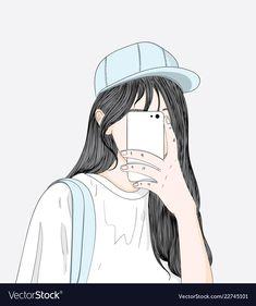A woman wearing a blue hat is ready to take a shopping spree. Cute Cartoon Girl, Anime Girl Cute, Beautiful Anime Girl, Cartoon Pics, Anime Art Girl, Cute Cartoon Wallpapers, Cute Wallpaper Backgrounds, Cute Couple Art, Girly Drawings