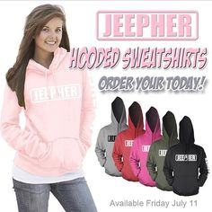 Just in case you missed our announcement this morning. We are so excited to introduce to you our #JEEPHER HOODIES❤️ Perfect for those chilly nights when riding topless.  Guys get one for your girl, leave them in the #Jeep!  ____________________________________ Be the first to get your #JeepHer Hoodie .... Order today at JEEPBEEF.com (the link is in our bio). They will be shipped FRIDAY!  Partner @allsportsetc #Padgram