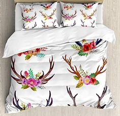 Antlers Decor Duvet Cover Set, 4 Piece Full Bedding Sets Soft Warm Microfiber Bedspread Comforter Cover and Pillow Shams, Deer Horns Bouquet Flowers Bloom Fun Springtime Garden Branches