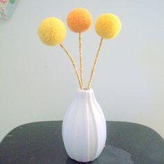 Mustard yellow felt flowers wool pom pom ball flower craspedia large handfelted wool pom pom flower trio orange yellow marigolds mightylinksfo