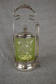 Victorian pickle castor with vaseline honeycomb glass