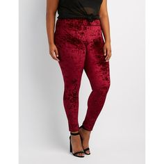 Charlotte Russe Velvet Leggings ($17) ❤ liked on Polyvore featuring plus size women's fashion, plus size clothing, plus size pants, plus size leggings, burgundy, womens plus size pants, plus size trousers, womens plus size leggings and plus size velvet leggings