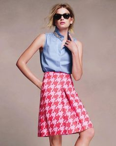 J Crew Pixelated Houndstooth skirt with light blue button-down
