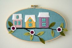 Applique houses in a hoop