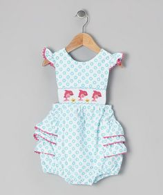 Another great find on #zulily! Blue Dolphin Smocked Bubble Bodysuit - Infant by This and That for Kids #zulilyfinds