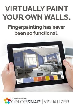 Virtually see Sherwin-Williams paint colors on your own walls with ColorSnap® Visualizer for iPad. It lets you try colors on walls before you commit, so you can make your best color decisions yet. Then, all you have to do is pick up a brush and feed your DIY spirit.