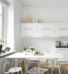 White kitchen with Hee chair and Loop stand table by Hay. Via Coco Lapine Design blog.