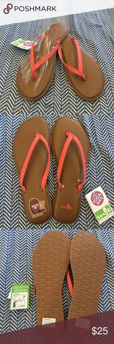 Yoga Bliss Women's Sanuk Yoga Bliss. Made from real yoga mats! Light brown footbed, with peach straps. Several sizes and color ways available. Bundle to save! All offers considered and please feel free to ask questions! Sanuk Shoes Sandals
