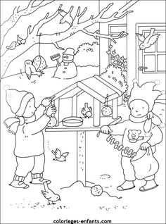 Coloriage Saisons à colorier - Dessin à imprimer Coloring Sheets For Kids, Colouring Pages, Feeding Birds In Winter, Money Flowers, Christmas Coloring Pages, Mandala, Korean Art, Winter Art, Christmas Colors