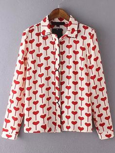 Red White Contrast Trims Hearts Print Blouse -SheIn