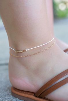 High Polish Gold and Ivory Cord Beaded Accent Anklet