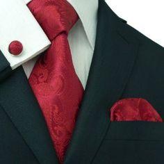 Landisun 104 True Red Paisleys Mens Silk Tie Set: Tie+Hanky+Cufflinks Exclusive