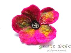 felted flower#wet felting#brooch