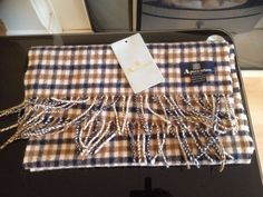 Aquascutum London 100% Lambswool Mens Genuine Check Scarf Made in England