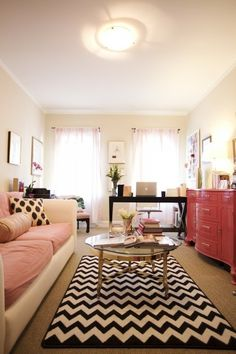 A bit too girly, but love the contrast- and hopefully I can find a rug that looks good over my carpet....