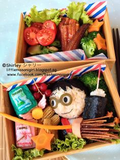 Bento Singapore by Shirley 楽しくてお弁当とキャラベン: Harry Potter Bento ハリーポッターのキャラ弁  Cute, love the broom and wand