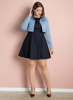 Moda Plus-size - Vestido+Jaquetinha jeans Chubby Fashion, Curvy Girl Fashion, Plus Size Fashion, Plus Size Dresses, Plus Size Outfits, Long Dresses, Maxi Dresses, Ivory Dresses, Jeans Claro