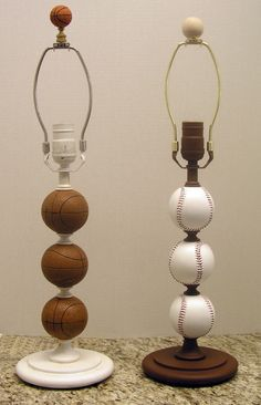 """When I saw this I wasn't thinking that finding a """"baseball lamp"""" would be easy.  I was more or less thinking that I've seen lamp stands that have the round figures as this one.  So if you find some, paint the balls to look like baseballs or whichever sport you so choose.  Very cool lamp."""