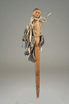 Potawatomi Staff Mid 19th century Geography: United States, Wisconsin Culture: Potawatomi Medium: Wood, native-tanned skin, deer dewclaws.
