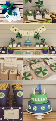 Great colors and decorations for a boy's birthday party!