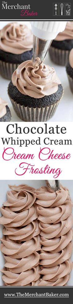Chocolate Whipped Cream Cream Cheese Frosting - The Merchant Baker - - Chocolate Whipped Cream Cream Cheese Frosting. A combination of two favorites, now in chocolate! Wonderfully mellow, creamy and not too sweet! Keks Dessert, Bon Dessert, Cupcake Recipes, Baking Recipes, Dessert Recipes, Party Recipes, Dessert Ideas, Just Desserts, Delicious Desserts