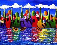 Colorful Fall Shoreline Whimsical Folk Art por reniebritenbucher