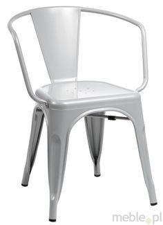 Krzesło Paris Arms szare inspirowane Tolix, Dkwadrat - Meble