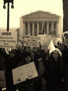 https://flic.kr/p/e6dsbR | Supreme Court gay marriage hearings | Demonstrators outside the Supreme Court on Tuesday, March 26 during gay marriage hearings. (Chris Moody/Yahoo News.)