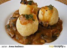 Bramborové knedlíky se žampiony ,na žampionech Dumplings, Baked Potato, Pizza, Potatoes, Bread, Chicken, Baking, Ethnic Recipes, Food