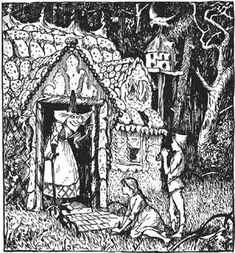Henry Justice Ford - The Blue Fairy Book -Hansel and Gretel Fairy, Childrens Illustrations, Illustration, Blue Fairy, Art, Black And White Drawing, Woodcut, Fairy Book, Ink Illustrations