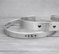 Sigma Kappa Cuff, Sorority Jewelry, Sorority Bracelet, Hand Stamped Cuff, Handstamped Jewelry, Personalized Cuff, Personalized Gift Idea, on Etsy, $19.00