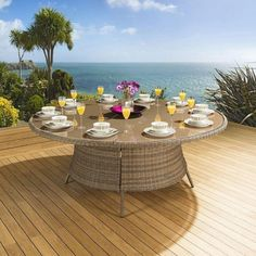 Massive Luxury Garden / Outdoor Round Dining Table Brown Rattan Thick cushions and oversize designs make ours the most comfortable on the market. Interest Free Credit and Free Delivery Call 02476 642139 Garden Dining Set, Outdoor Dining Set, Round Dining Table, Outdoor Decor, Outdoor Living, Rattan Garden Furniture, Outdoor Furniture Sets, Furniture Ideas, Large Chair
