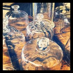 Nice collection of 1920 s hand blown glass cheese cloches