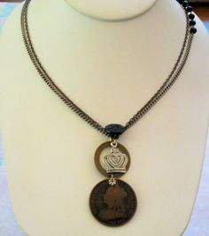 Vintage Queen Victoria 1895 One Penny Coin Necklace by joyceshafer