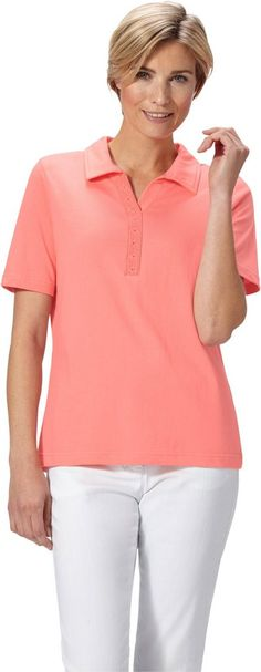 Classic Basics Poloshirt aus reiner Baumwolle ab 19,99€. Poloshirt mit Glitzersteinchen, Baumwolle, Figurumschmeichelnde Form, Kurzarm, Polokragen bei OTTO