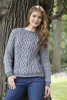 Two Tone Cable Sweater By Heather Lodinsky - Free Knitted Pattern - (ravelry)