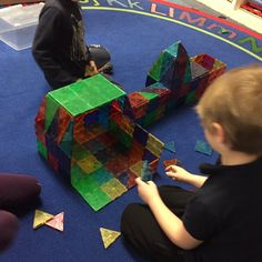 Magna-Tects are busy building Pierce School with Magna-Tiles!