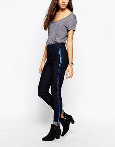 Image 1 - Lee Jeans - Skyler - Jean skinny avec rayure en sequins style smoking - Bleu brut