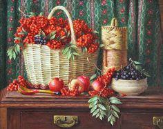 Still life with red mountain ash, Yuri Kudrin