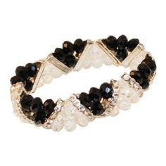 Black and Crystal Beaded Bracelet.   #bracelet #style  9thelm.com