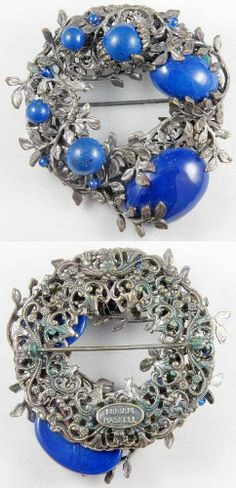 1960s Vintage Miriam Haskell Signed Faux Lapis Assymetrical Silver Tone Brooch