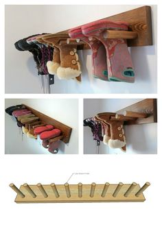 Hang boots on the wall! Dries faster, keeps the boots from slouching over, and saves space! Ana White Build a Wall Boot Rack Plans Free and Easy DIY Project and Furniture Plans