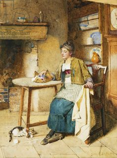 Absent Thoughts. Carlton Alfred Smith (1853-1946). Pencil and watercolour. Dated 1884. 42.5 x 32.5cm